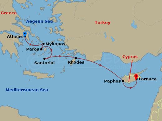 Hajóút Athén és Ciprus közt hajóút