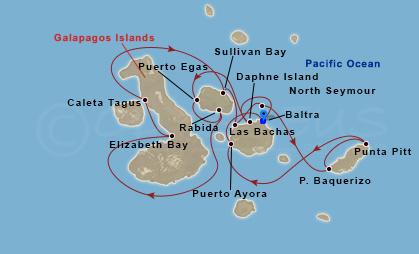 Galapagosz-szigetek belső kör hajóút