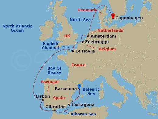 10 NIGHT BARCELONA TO COPENHAGEN CRUISE hajóút
