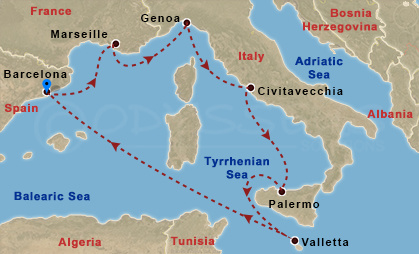 Róma, Szicília, Málta - barcelonai indulás hajóút