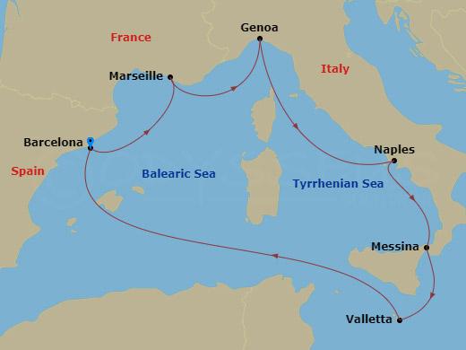 Szicília, Málta Barcelonából hajóút