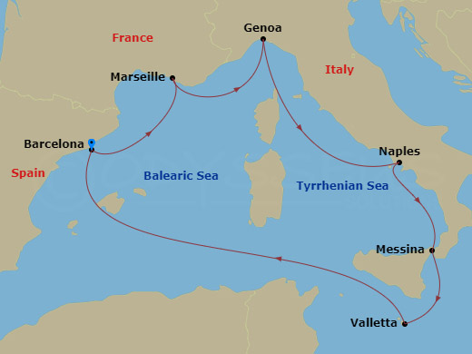 Mediterrán hajóút barcelonai indulással hajóút