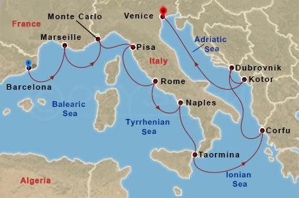 Olasz partok mentén hajóút