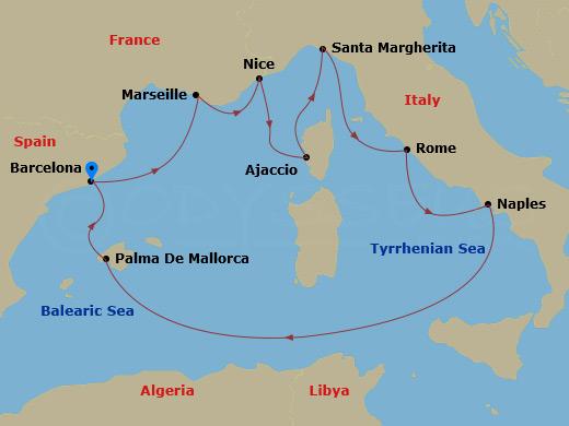 Nyugat-mediterrán nagykörút hajóút