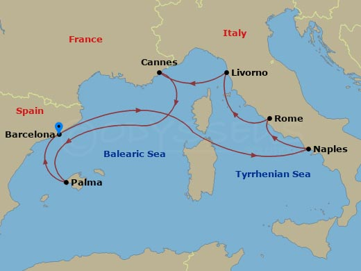 Nyugat-mediterrán körutazás hajóút