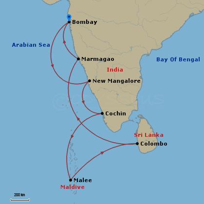 India, Maldív-szk, Srí Lanka hajóút