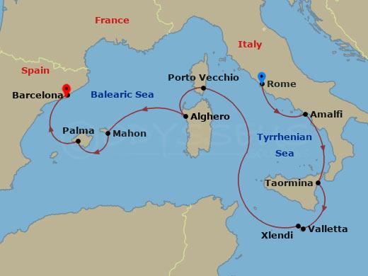 Nyugat-mediterrán szigetek hajóút
