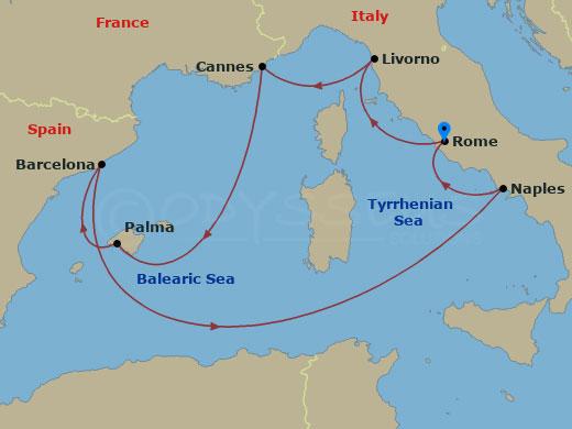 Nyugat-mediterrán körutazás Rómából hajóút