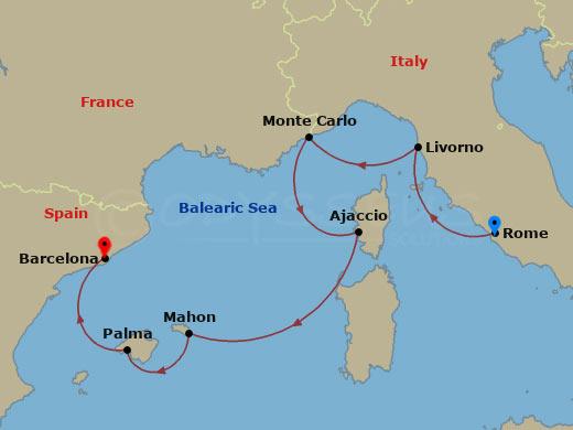 Firenze, Korzika, Menorca hajóút