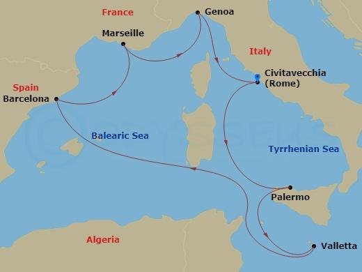 Barcelona, Szicília, Málta - római indulással hajóút