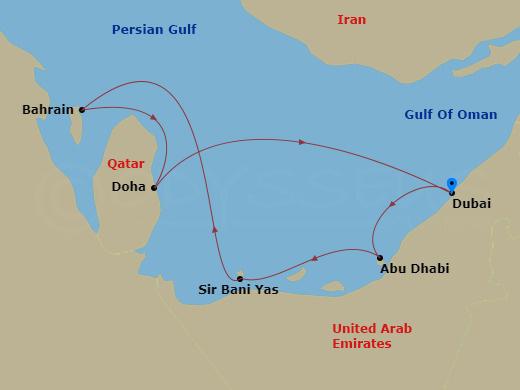 Az Arab-öböl kincsei hajóút
