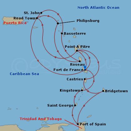 Kéthetes dél-karib hajóút hajóút