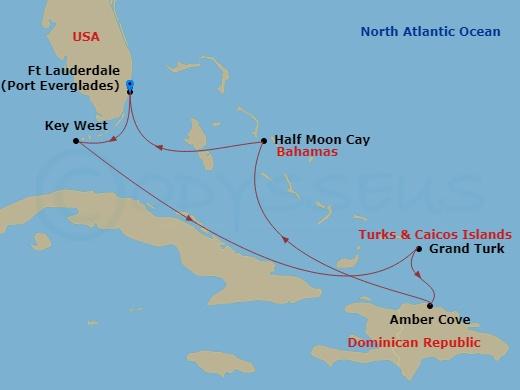 Dominika, Grand Turk, Bahamák hajóút