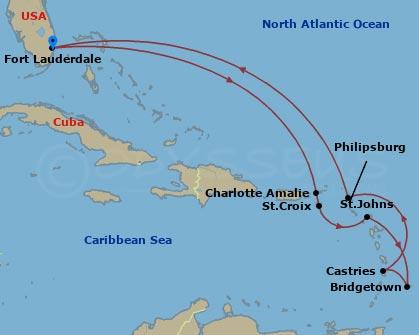 Dél-karibi szigetek hajóút