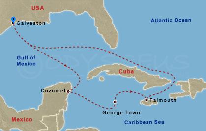 Jamaika, Nagy Kajmán, Mexikó hajóút