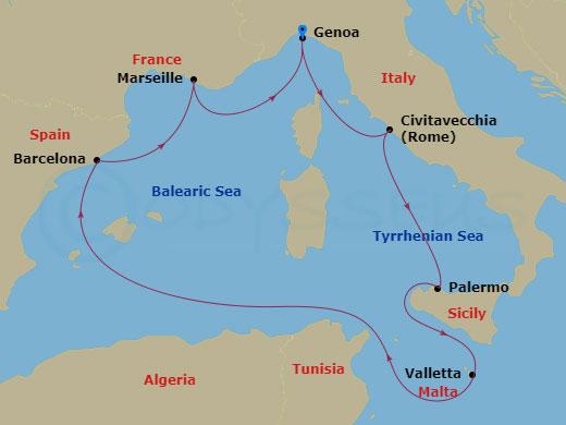 Róma, Szicília, Málta hajóút