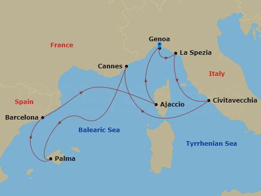 Mediterrán fuvallat hajóút