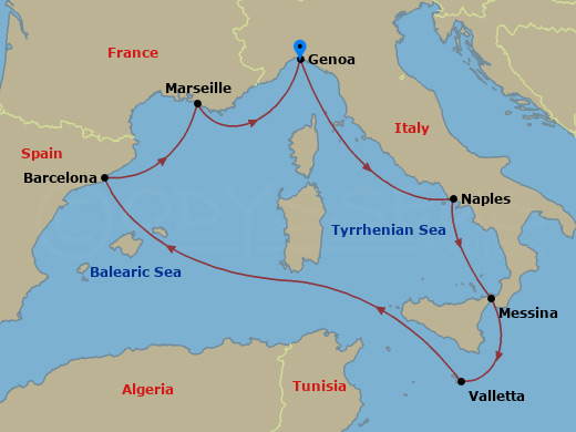 Szicília, Málta hajóút