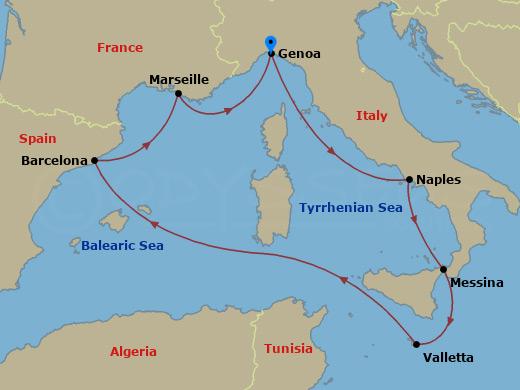 Klasszikus nyugat-mediterrán hajóút hajóút