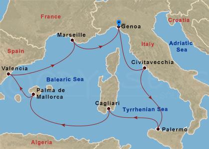 Szicília, Szardínia, Mallorca hajóút