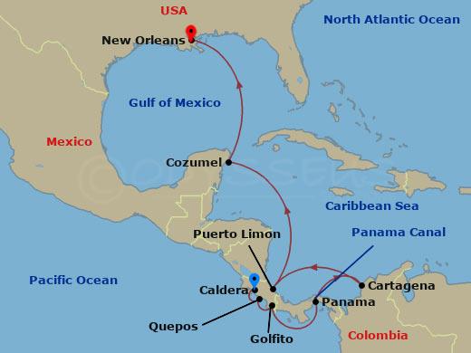 Costa Rica és a Panama-csatorna hajóút
