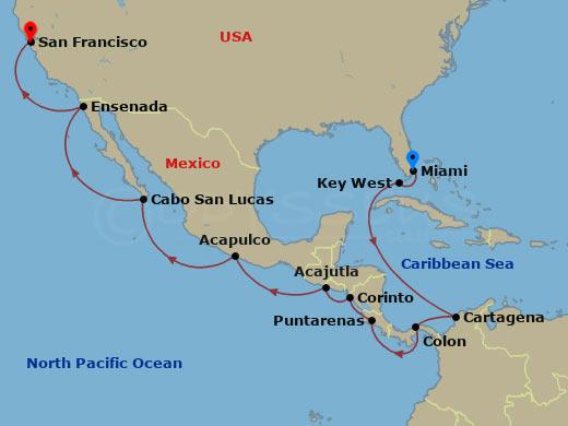Miamiból San Franciscoba hajóút