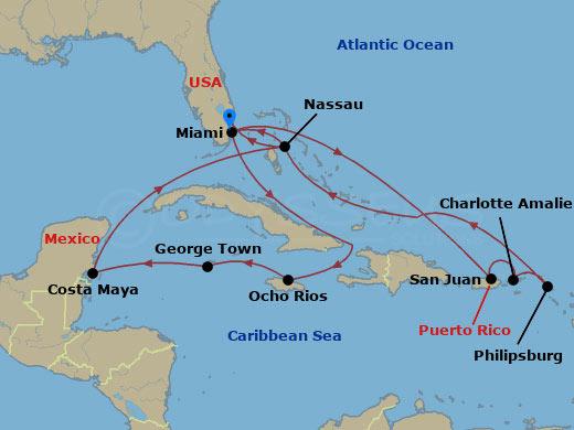 Klasszikus nyugat-karib hajóút hajóút