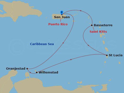 Antillák és St. Lucia hajóút