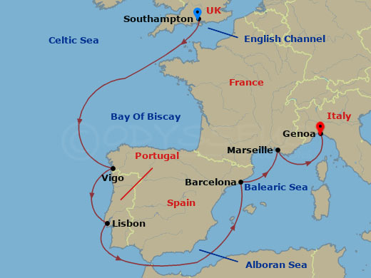 Londonból Genovába hajóút