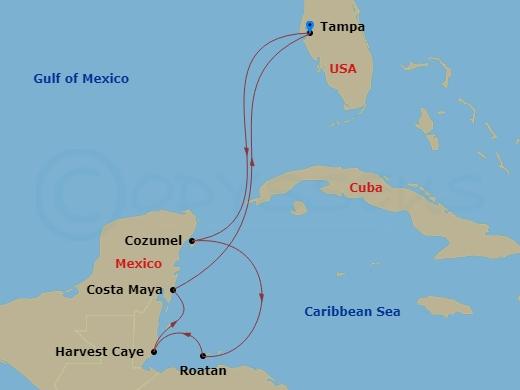 Mexikó, Honduras, Belize hajóút