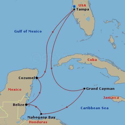 Nyugat-karib körutazás hajóút
