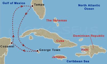 Mexikó, Nagy Kajmán hajóút