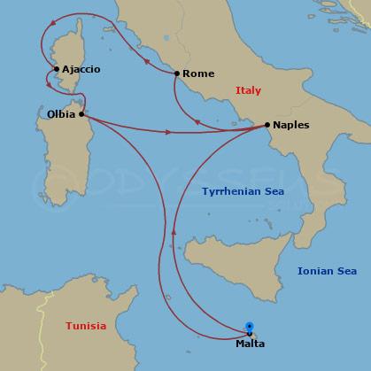 Korzika, Szardínia, Róma hajóút