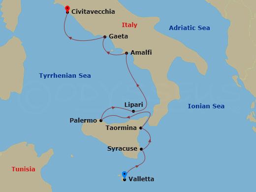 Szicília és Amalfi hajóút